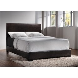 Coaster Faux Leather Full Bed in Dark Brown