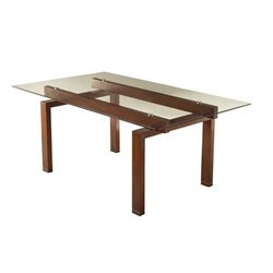 Coaster Rossine Glass Top Dining Table in Red Brown