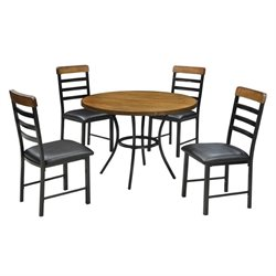 Coaster Noah 5 Piece Dining Set in Warm Brown and Black