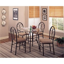 Coaster Odelia 5 Piece Dining Set in Black and Brown
