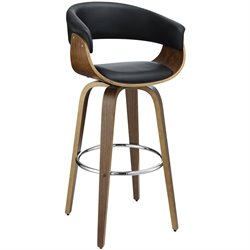Coaster Upholstered Bar Stool in Black and Walnut