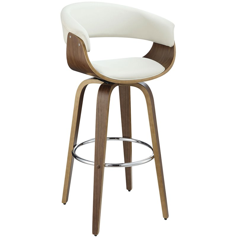 Coaster Upholstered Bar Stool In White And Walnut 100206