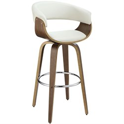 Coaster Upholstered Bar Stool in White and Walnut