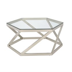 Coaster Hexagon Coffee Table in Nickel