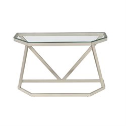Coaster Glass Top Metal Console Table in Nickel