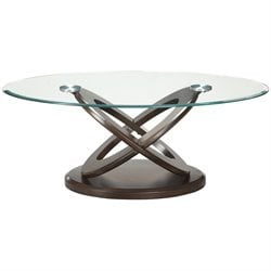 Coaster Glass Top Round Coffee Table in Espresso
