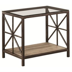 Coaster Avondale 1 Shelf Glass Top End Table in Black Brush Gold