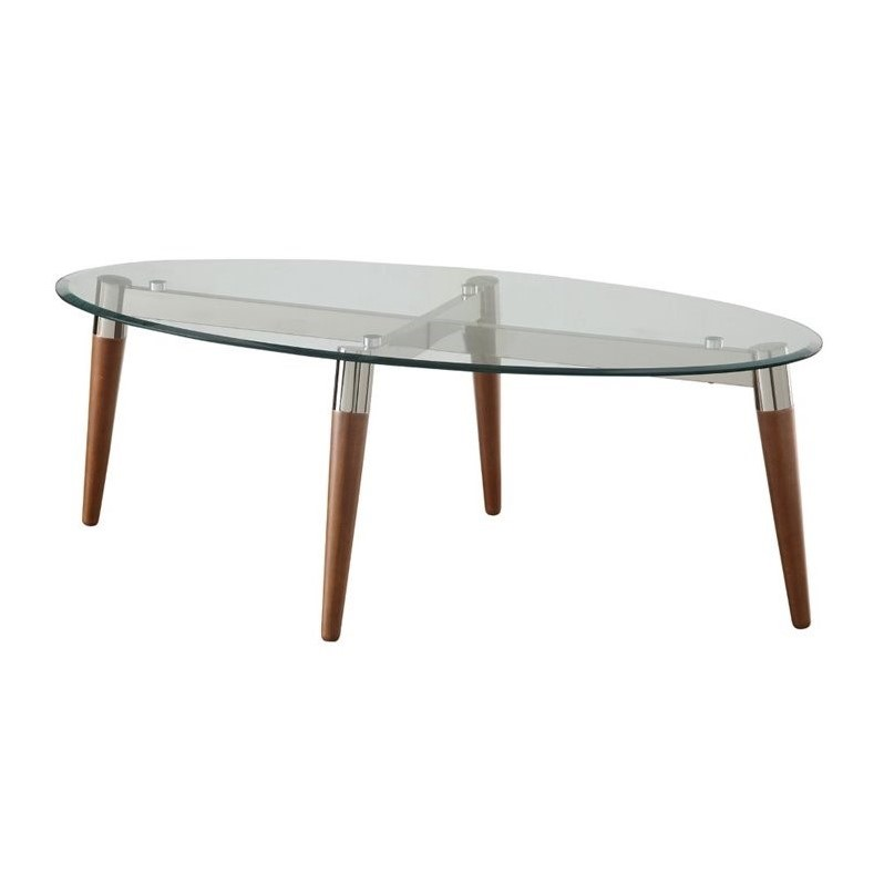 Coaster Glass Top Oval Coffee Table In Nickel 702908