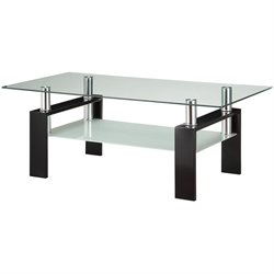 Coaster Glass Top Coffee Table in Black