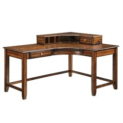 Coaster Jacqueline Corner Desk with Hutch in Warm Amber