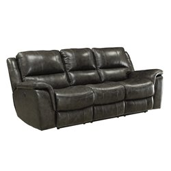 Coaster Wingfield Leather Reclining Sofa with USB Port in Charcoal