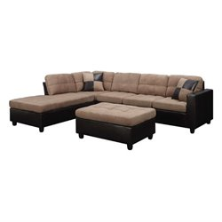 Coaster Fabric Sectional with Ottoman in Tan