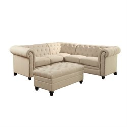 Coaster Roy Button Tufted Sectional with Ottoman in Oatmeal