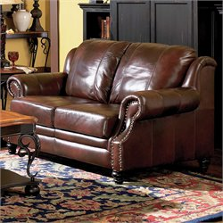 Coaster Furniture Princeton Brown Leather Loveseat