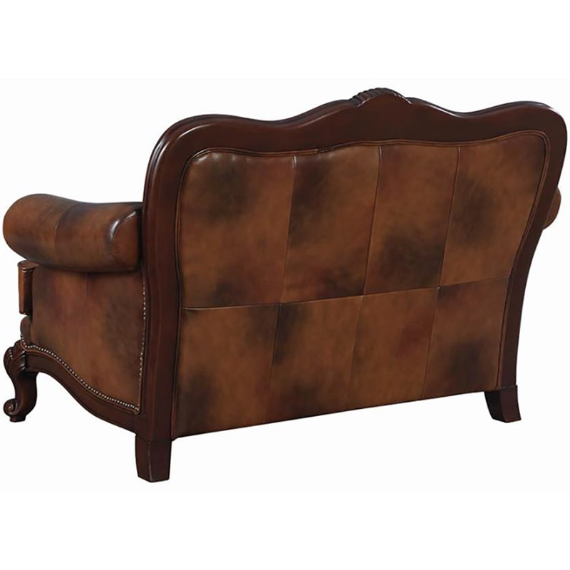Fine Coaster Victoria Leather Tufted Loveseat In Warm Brown Pabps2019 Chair Design Images Pabps2019Com