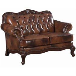 Coaster Furniture Traditional Brown Leather Loveseat