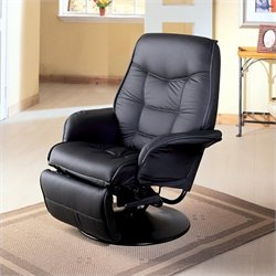 Coaster Furniture Leatherette Swivel Recliner Chair in Black