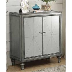 Coaster 2 Shelf Accent Cabinet in Silver