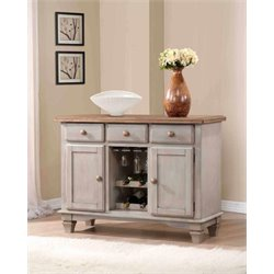Coaster Riverbend Two Tone Server with Wine Rack in Wheat and Gray