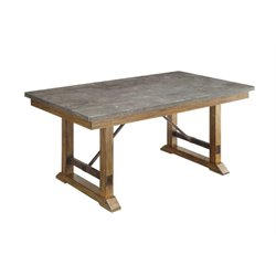 Coaster Willowbrook Bluestone Top Dining Table in Rustic Ash