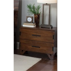 Coaster Yorkshire 2 Drawer Nightstand in Dark Amber and Coffee Bean