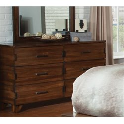 Coaster Yorkshire 6 Drawer Dresser in Dark Amber and Coffee Bean