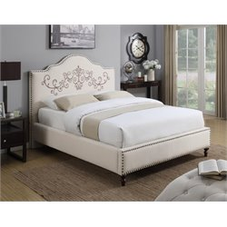 Coaster Homecrest Upholstered King Bed in Beige