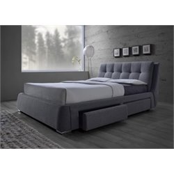 Coaster Fenbrook Upholstered Platform Bed with Storage in Gray