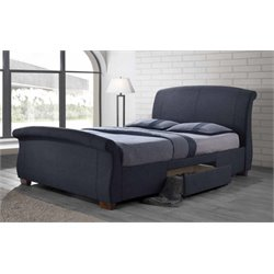 Coaster Bristol King Platform Sleigh Bed with Storage in Gray