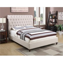 Coaster Deveon Upholstered King Bed in Beige