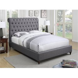 Coaster Deveon Upholstered King Bed in Gray