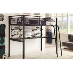 Coaster Twin Loft Bed with Workstation in Black