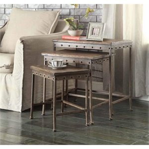 Coaster 3 Piece Nesting Table Set in Antique Brown