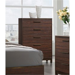 Coaster Edmonton 5 Drawer Chest in Rustic Tobacco and Dark Bronze