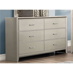 Coaster Lana 6 Drawer Dresser in Silver