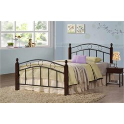 Coaster Kyan Twin Metal Spindle Bed in Black and Merlot