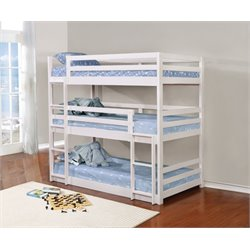 Coaster Triple Twin Bunk Bed in White