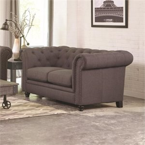 Coaster Roy Button Tufted Loveseat in Gray