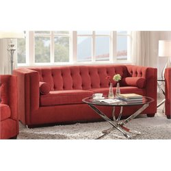 Coaster Cairns Tufted Back Sofa in Crimson