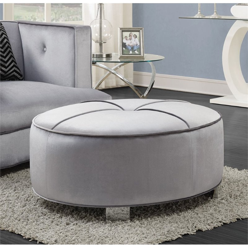 Coaster Caldwell Round Upholstered Ottoman in Silver