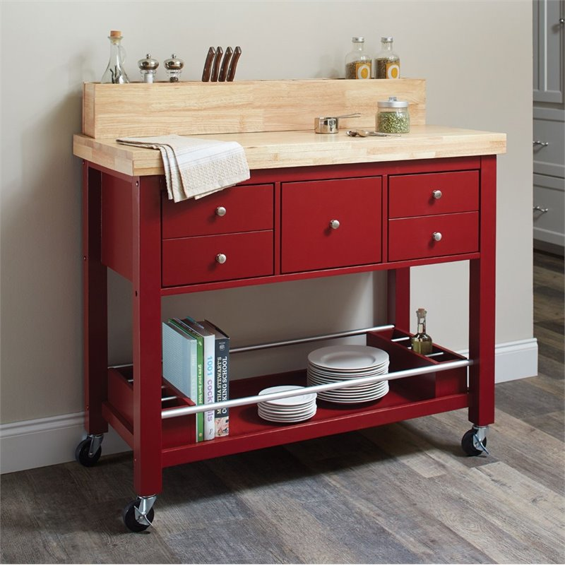 Coaster Kitchen Cart In Red 102667