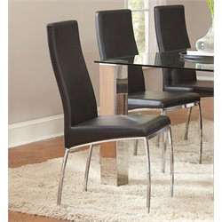 Coaster Faux Leather Dining Side Chair in Black