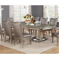 Coaster Dining Table in Metallic Platinum