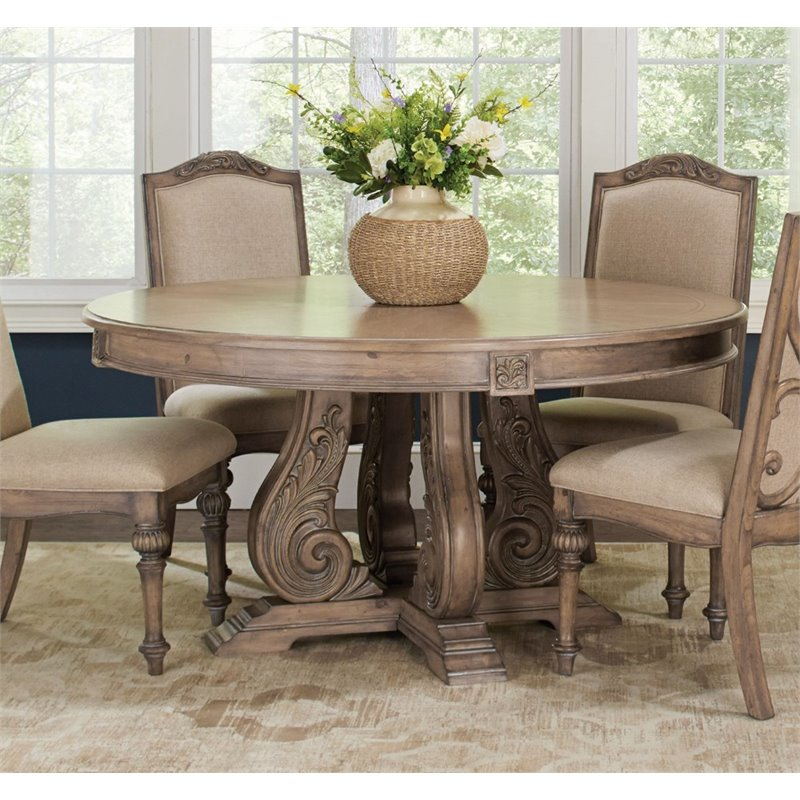 Image Is Loading Coaster Round Dining Table In Antique Linen
