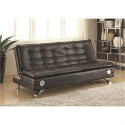 Coaster Erickson Faux Leather Convertible Sofa in Black