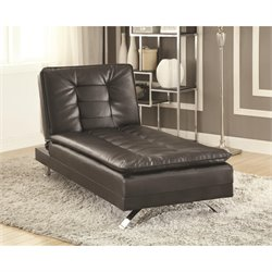 Coaster Erickson Faux Leather Convertible Chaise Lounge in Black