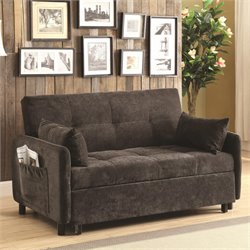 Coaster Convertible Sofa in Dark Brown