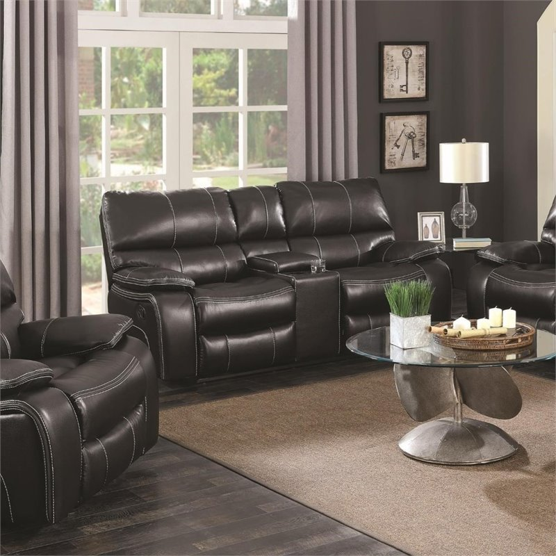 Coaster Willemse Faux Leather Reclining Loveseat with Console in Black & Coaster Willemse Faux Leather Reclining Loveseat with Console in ... islam-shia.org