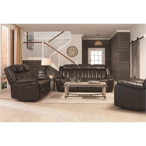 Coaster Bevington Faux Leather Reclining Sofa in Black