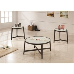Coaster 3 Piece Glass Top Coffee Table Set in Espresso